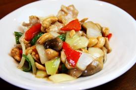 紀州梅鶏とカシュナッツ炒め